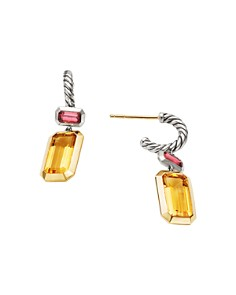 David Yurman - Sterling Silver Novella Drop Earrings with Citrine & 18K Yellow Gold