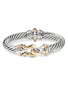 David Yurman - Sterling Silver & 18K Yellow Gold Cable Buckle Bracelet with Rhodalite Garnet