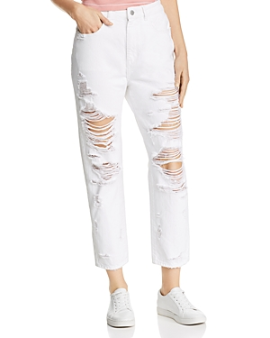 DL1961 Susie High-Rise Shredded Boyfriend Jeans in Cole