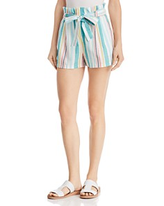 AQUA - Striped Paperbag-Waist Shorts - 100% Exclusive