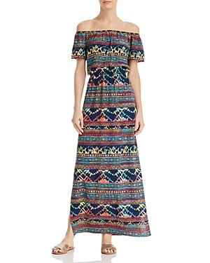 70s Dresses – Disco Dresses, Hippie Dresses, Wrap Dresses Aqua Tie-Dye Off-the-Shoulder Maxi Dress - 100 Exclusive AUD 106.30 AT vintagedancer.com