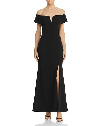 AQUA - Off-the-Shoulder A-Line Gown - 100% Exclusive