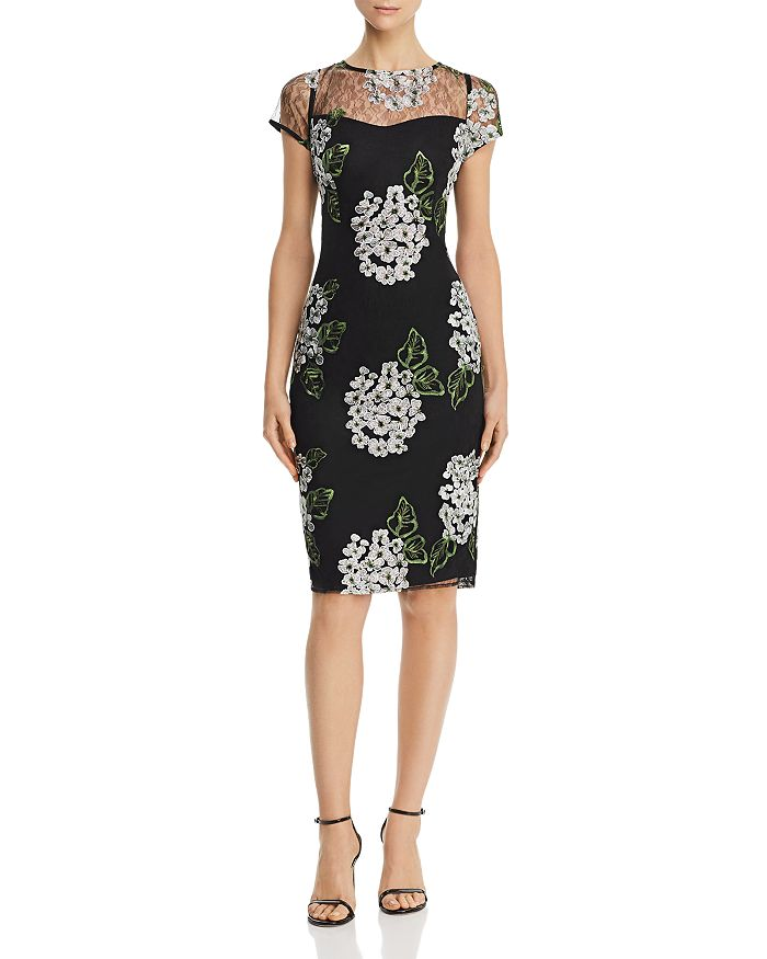 Adrianna Papell - Floral-Embroidered Sheath Dress