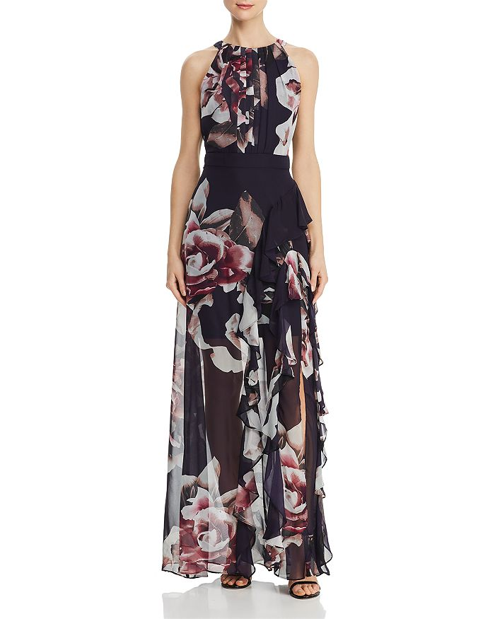 Avery G - Floral Back-Tie Gown