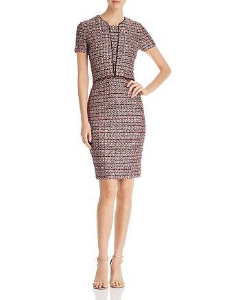 St. John - Textured Contrast-Trim Check Pattern Dress