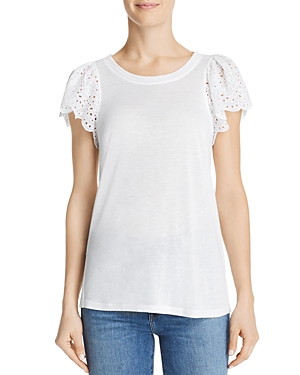 Rebecca Taylor LIVY LACE-TRIMMED JERSEY TOP