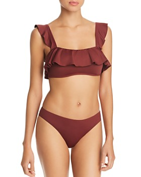 cd1f409ddb Eberjey - So Solid Jane Ruffle Bandeau Bikini Top & So Solid Annia Bikini  Bottom