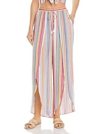 AQUA - Cutaway Striped Wide-Leg Pants - 100% Exclusive
