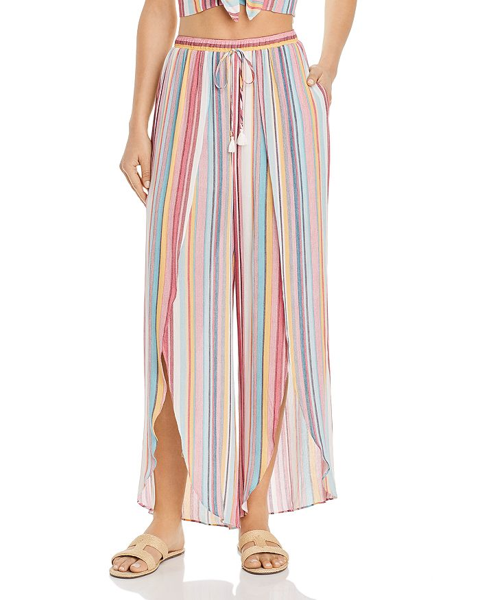 AQUA - Cutaway Striped Wide-Leg Pants - 100% Exclusive