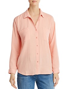 Eileen Fisher Petites - Plissé Organic Cotton Button-Down Top