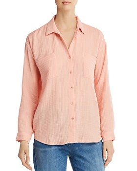 Eileen Fisher - Plissé Organic Cotton Button-Down Top