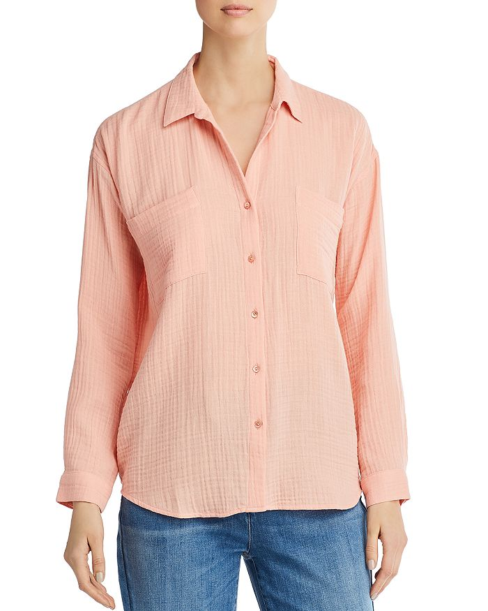 Eileen Fisher Petites - Plissé Organic Cotton Button-Down Top