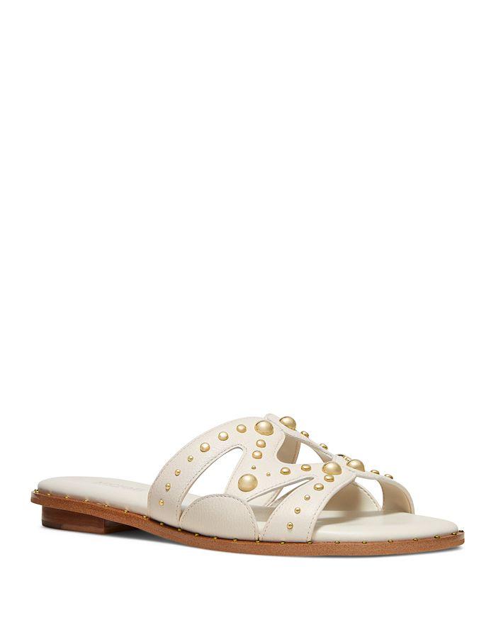 Michael Michael Kors Women's Annalee Studded Slide Sandals In Light Cream