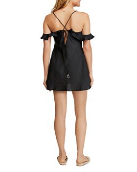 Free People - What I Want Satin Cold-Shoulder Mini Dress