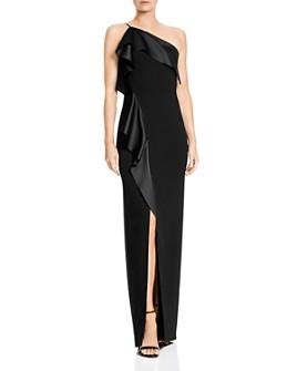 HALSTON - One-Shoulder Crepe Gown
