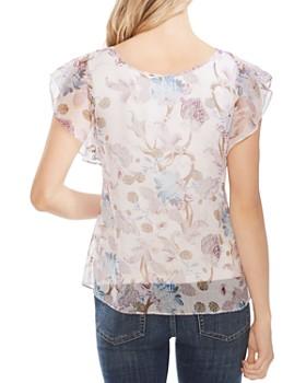 VINCE CAMUTO - Poetic Blooms Printed Flutter-Sleeve Top