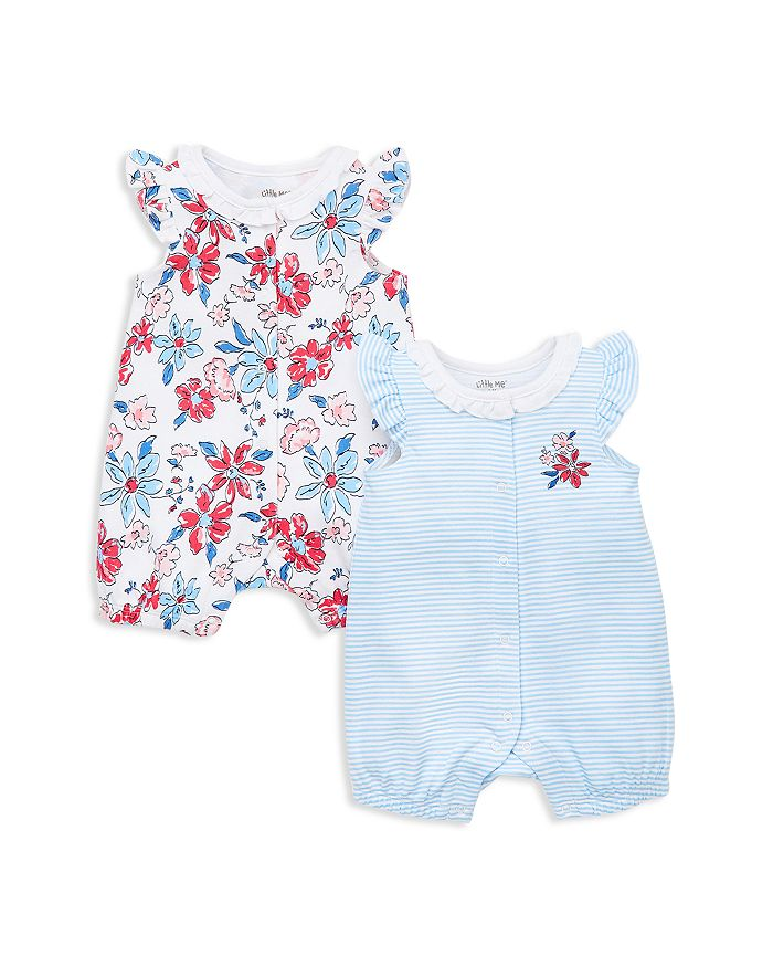 Little Me - Girls' Floral Rompers, 2 Pack - Baby