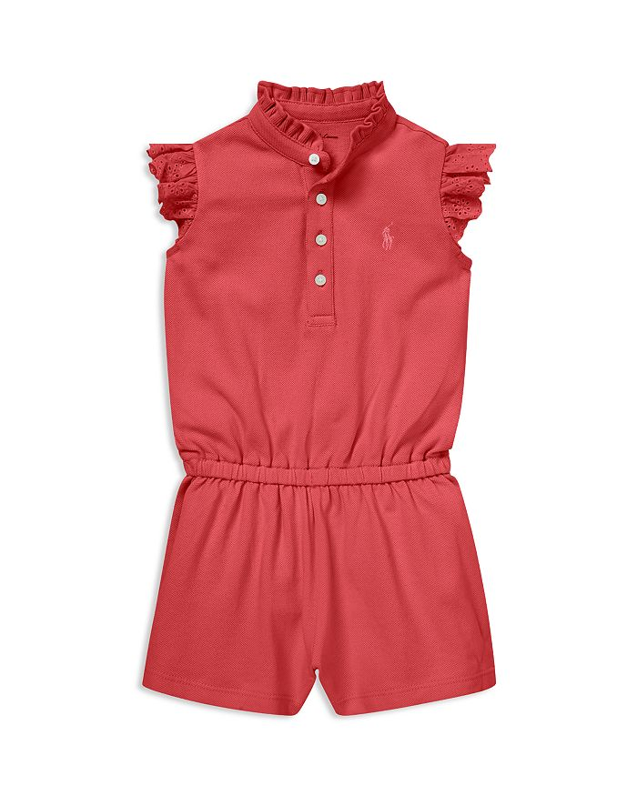 Ralph Lauren - Girls' Eyelet-Trim Cotton Mesh Romper - Baby