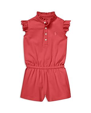 Ralph Lauren Childrenswear Girls EyeletTrim Cotton Mesh Romper  Baby