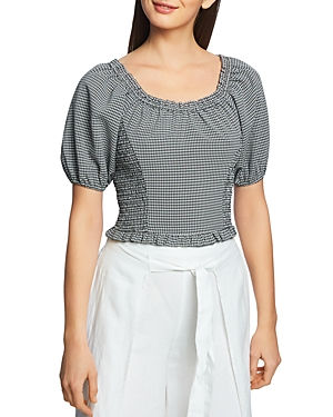 1.state Checked Puff-Sleeve Top