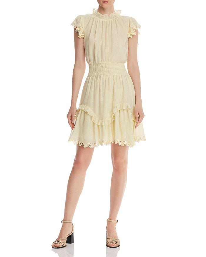 Rebecca Taylor - Ruffled Metallic-Stripe Dress