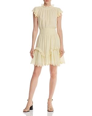 Rebecca Taylor Dresses RUFFLED METALLIC-STRIPE DRESS