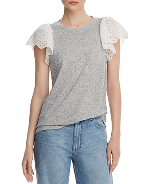 Rebecca Taylor Tops LIVY LACE-TRIMMED JERSEY TOP