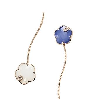 Pasquale Bruni 18K Rose Gold Joli Gemstone Drop Earrings with Champagne & White Diamonds