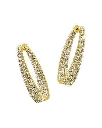Bloomingdale's - Diamond Inside-Out Oval Hoop Earrings in 14K Yellow Gold, 2.30 ct. t.w. - 100% Exclusive