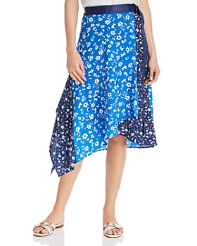 AQUA - Mixed Floral Print Skirt - 100% Exclusive