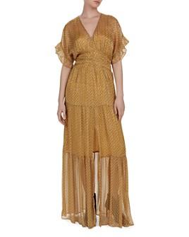 ba&sh - Wanda Metallic Herringbone Print Maxi Dress