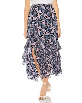VINCE CAMUTO - Charming Floral Tiered-Ruffle Skirt