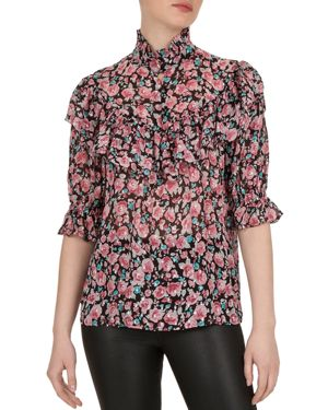 THE KOOPLES | The Kooples Candy Flowers Lurex Ruffle Blouse | Goxip