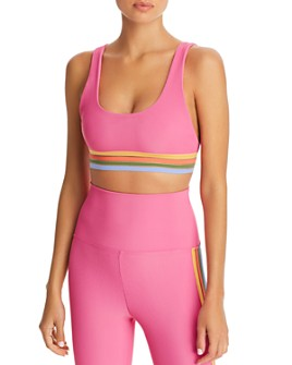 Beach Riot - Clementine Illusion-Stripe Sports Bra