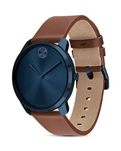 Movado - BOLD Thin Leather Strap Watch, 42mm
