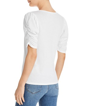 00b95d23019bad ... FRAME - Ruched-Sleeve Tee