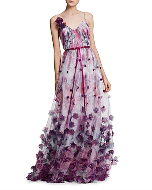 Marchesa Notte SLEEVELESS FLORAL-EMBELLISHED GOWN