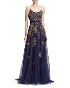 MARCHESA NOTTE - Embroidered Gown with Capelet