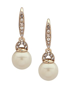 Ralph Lauren - Pavé & Simulated Pearl Small Drop Earrings