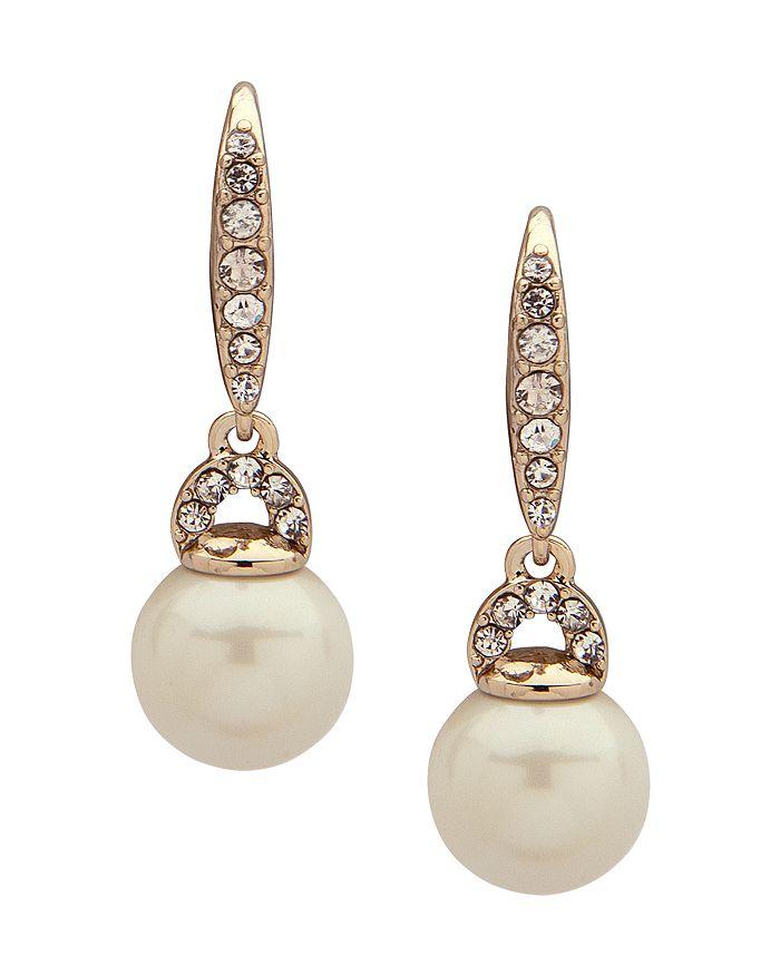 Ralph Lauren - Pavé & Simulated Pearl Small Drop Earrings