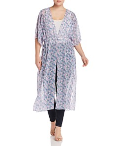 VINCE CAMUTO Plus - Charming Floral Semi-Sheer Duster Kimono