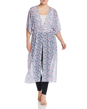 f377597084a VINCE CAMUTO Plus - Charming Floral Semi-Sheer Duster Kimono ...