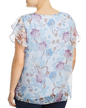 889b200168d ... VINCE CAMUTO Plus - Poetic Blooms Flutter-Sleeve Top