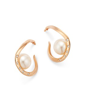 OWN YOUR STORY - 14K Rose Gold Amorphous Cultured Freshwater Pearl & Diamond Earrings