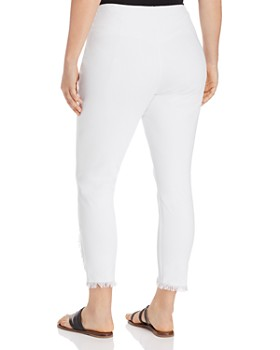 Lyssé Plus - Cropped Frayed-Hem Legging Jeans in White