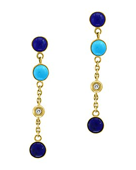 Bloomingdale's - Lapis Lazuli, Turquoise & Diamond Accent Earrings in 14K Yellow Gold - 100% Exclusive