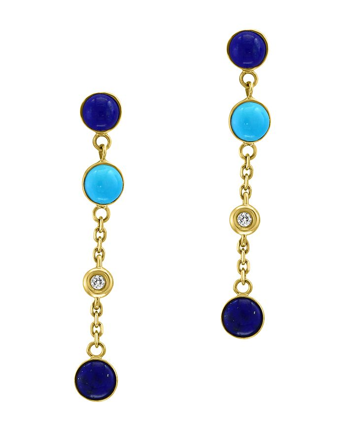 a55ae3b88fd7d2 Bloomingdale's - Lapis Lazuli, Turquoise & Diamond Accent Earrings in 14K  Yellow Gold - 100