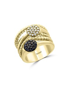 Bloomingdale's - Black & White Diamond Crossover Band in 14K Yellow Gold - 100% Exclusive