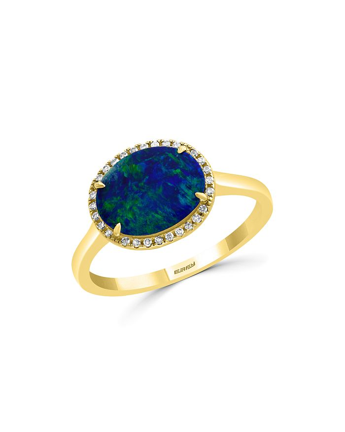 Bloomingdale's - Blue Opal & Diamond Ring in 14K Yellow Gold - 100% Exclusive