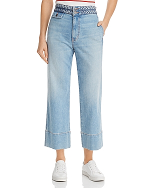 Current Elliott Jeans CURRENT/ELLIOTT THE BRAIDED CAMP WIDE-LEG JEANS IN POOLSIDE